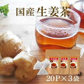 しょうが紅茶 ティーバッグ 体を温める「生姜茶」気軽に飲めるティーパックタイプ2g×20包の3袋セット【送料無料】 こうちゃ【国産 健康茶】
