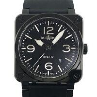 【中古】ベル&ロスBR03-92BC-ALブラックセラミックラバー腕時計自動巻き黒文字盤ブラックBell&Ross