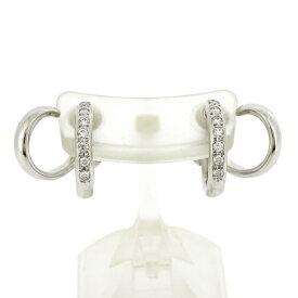 【中古】ミキモト イヤリング K18WG ホワイトゴールド ダイヤモンド 6.7g ネジバネ式 フープ MIKIMOTO
