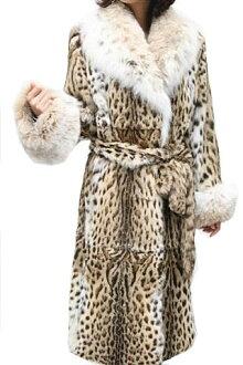 レオパード&链接毛皮外套7654妇女毛皮/レオパードコート