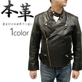 ダブルライダースジャケット メンズ 本革 牛革 革ジャン キルティング レザージャケット 本革ジャケット バイクウェア M/L/XL ブラック 黒 0350