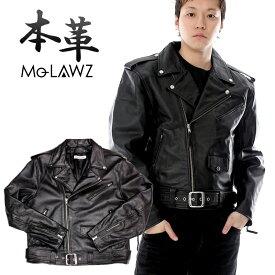 ダブルライダースジャケット US 本革 メンズ 革ジャン レザージャケット 本革ジャケット バッファロー S/M/L/LL/3L/4L/5L ブラック 黒 mlrj003 mo-laws モローズ