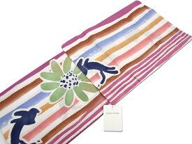 ツモリチサトtsumori chisatoカラフル縞 花とネコ浴衣綿100% 日本製【新品】