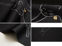 【お仕立て無料】鈴をつけたネコ刺繍名古屋帯地おび弘※こちらは未仕立ての商品です