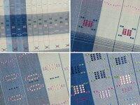 【お仕立て無料】片身藍縞花織袋帯地貝紫糸使用工芸会正会員秋山眞和※こちらは未仕立ての商品です