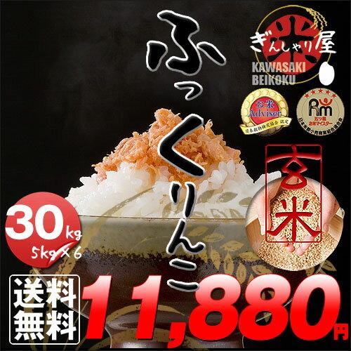 29年産 北海道産 ふっくりんこ 玄米 30kg (5kg×6袋セット)<玄米/白米/分づき米> 【送料無料】【北海道米 送料込み 米 お米 真空パック選択可】