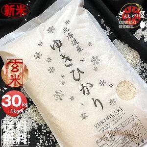 新米 令和2年産 北海道産 ゆきひかり 玄米 30kg (5kg×6袋セット)<玄米/白米/分づき米> 【送料無料】【北海道米 送料込み 米 お米 真空パック選択可】