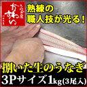 捌いた国産うなぎ 3Pサイズ1kg 【送料別】【ウナギ 鰻 生 調理済み ひらき 業務用】