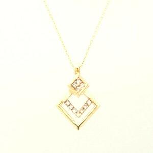 送料無料 【kawasumi】 K10 YG ダイヤ プチネックレス イエローゴールドネックレス ダイヤモンドネックレス ダイヤペンダント 誕生日 記念日 プレゼント ギフト お値打ち お出かけ イエローゴー