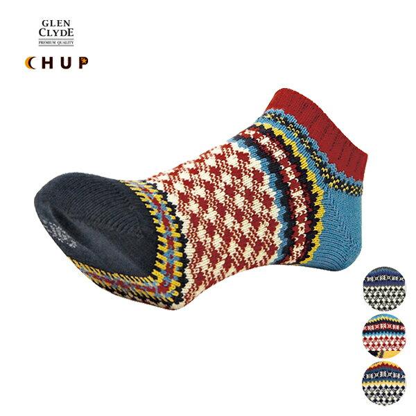 CHUP(チュプ) アンクルソックス「LABDIEM(ラブディエン)」ネイビー/ブラック/レッド 25-27cm 【ネコポス対応】【あす楽対応】【楽ギフ】【メンズ/クルー/靴下/ネイティブ/柄/GG161108】