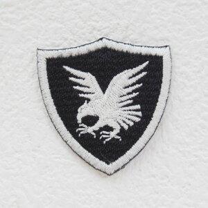 イーグルエンブレムワッペン(生地黒×枠白×白)【アイロンで簡単につきます】