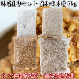手造り味噌セット 合わせ味噌5kg(約5.5kg)(無添加・九州産) 味噌作りセット