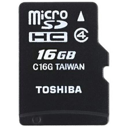 ◇【16GB】 TOSHIBA 東芝 microSDHCカード CLASS4 SD変換アダプター付 海外リテール THN-M102K0160M2 ◆メ
