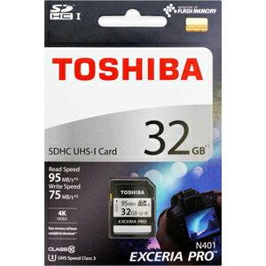 32GB SDHCカード SDカード TOSHIBA 東芝 EXCERIA PRO CLASS10 UHS-I U3 R:95MB/s W:75MB/s 海外リテール THN-N401S0320A4 ◆メ