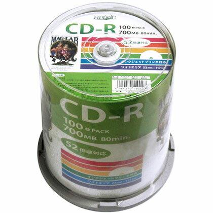 CD-R メディア データ用 HI-DISC ハイディスク 52倍速 700MB 100枚スピンドル ワイドプリンタブル HDCR80GP100 ◆宅
