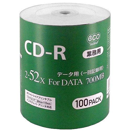 ◇ HI-DISC ハイディスク 業務用 CD-R 52倍速 100枚ecoパック インクジェット対応 ワイドプリント CR80GP100_BULK ◆宅