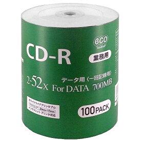 CD-R メディア 業務用 HI-DISC ハイディスク 52倍速 100枚ecoパック インクジェット ワイドプリント CR80GP100_BULK ◆宅