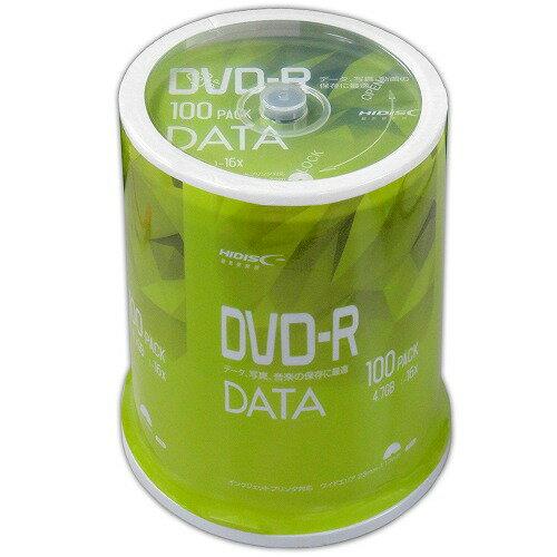DVD-R メディア データ用 HI-DISC ハイディスク 4.7GB 16倍速 100枚スピンドル ホワイトワイドプリンタブル RiTEK製DVD-R VVDDR47JP100 ◆宅