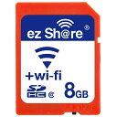 ◇ 【8GB】 ezShare Wi-Fi機能搭載SDHCカード Class10 Android/ iOS両対応 海外リテール Wi-FiSD-8G ◆メ