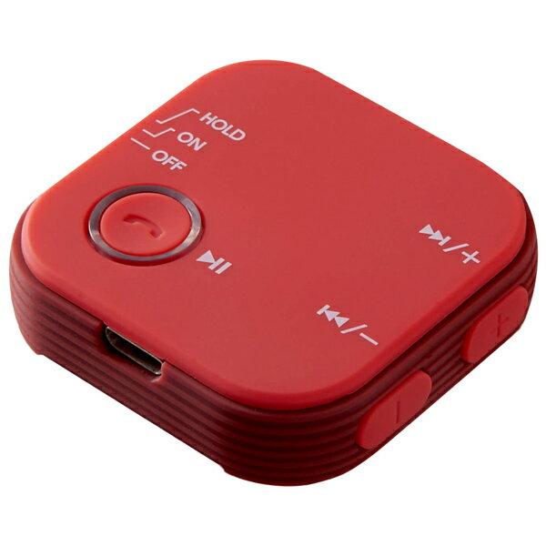 Bluetoothオーディオレシーバー グリーンハウス スマホの音楽や通話をワイヤレスに! マイク搭載 クリップ付 レッド GH-BHRB-RD ◆宅
