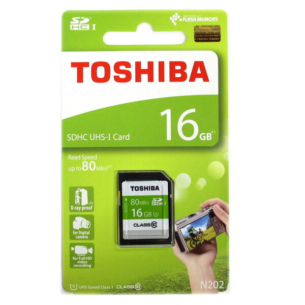 16GB TOSHIBA 東芝 EXCERIA SDHCカード CLASS10 UHS-I U1 R:80MB/s 海外リテール THN-N202N0160A4 ◆メ