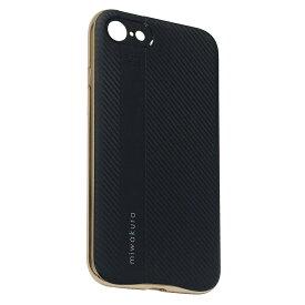 iPhoneSE2/8/7 ケース miwakura 美和蔵 プロテクトケース METEOR フレーム分離型 TPU素材 軽量仕様 ブラックxゴールド MCA-MTOI8-G ◆メ