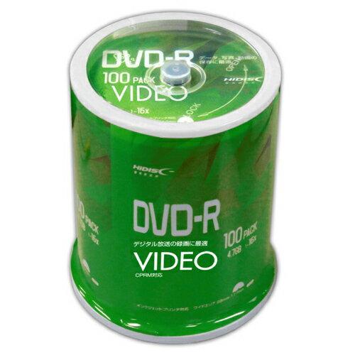 DVD-R 100枚 HIDISC ハイディスク 録画用 4.7GB 16倍速 スピンドル CPRM ホワイトワイドプリンタブル VVVDR12JP100 ◆宅