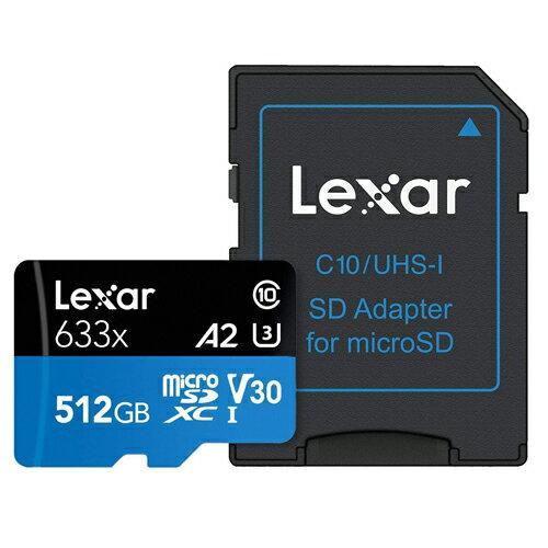 512GB microSDXCカード マイクロSD Lexar レキサー Class10 UHS-1 U3 V30 A2 R:100MB/s W:70MB/s SDアダプタ付 海外リテール LSDMI512BBAP633A ◆メ