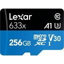256GB microSDXCカード マイクロSD Lexar レキサー Class10 UHS-1 U3 V30 A1 R:95MB/s W:45MB/s SDアダプタ付 海外リテール LSDMI256BBEU633A ◆メ