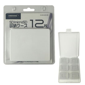 SD/microSD メモリーカード収納ケース 12枚収納用 HIDISC ハイディスク SDx6枚 microSDx6枚 ホワイト HD-MCCASE12WH ◆メ