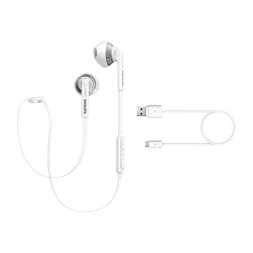 PHILIPS フィリップス Bluetoothイヤホン ワイヤレスヘッドフォン オープン型 マイク付 並行輸入品 ホワイト SHB5250WH ◆メ