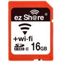16GB SDHCカード SDカード Wi-Fi機能搭載 ezShare Class10 Android/ iOS両対応 海外リテール Wi-FiSD-16G ◆メ