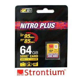 64GB SDXCカード SDカード Strontium Nitro Plus Class10 UHS-I U3 R:95MB/s W:85MB/s 海外リテール SRP64GSDU1 ◆メ