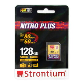 128GB SDXCカード SDカード Strontium Nitro Plus Class10 UHS-I U3 R:80MB/s W:60MB/s 海外リテール SRP128GSDU1 ◆メ