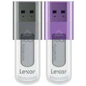 16GBx2 USBメモリ USB2.0 LEXAR レキサー JumpDrive S50 スライドカバー式 2本セット(ブラックx1 パープルx1) 海外リテール LJDS50-16GABEU2 ◆メ