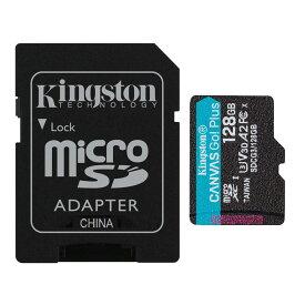 128GB microSDXCカード マイクロSD Kingston キングストン Canvas Go Plus UHS-I U3 V30 A2 4K R:170MB/s W:90MB/s SDアダプター付 海外リテール SDCG3/128GB ◆メ
