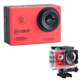 アクションカメラ フルHD 1080p対応 SAC エスエーシー 防水ハウジングケース付 microSDHC_32GBまで対応 レッド AC200RD ◆宅