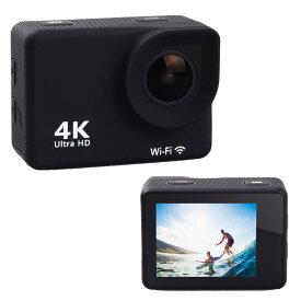 アクションカメラ 4K対応 SAC エスエーシー Wi-Fi対応 防水ハウジングケース付 microSDXC_64GBまで対応 ブラック MC8000BK ◆宅