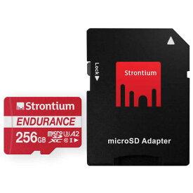 256GB 高耐久 microSDXCカード マイクロSD Strontium Nitro Plus Endurance A2 Class10 UHS-I U3 R:100MB/s W:45MB/s SDアダプター付 海外リテール SRP256GTFU1ES ◆メ