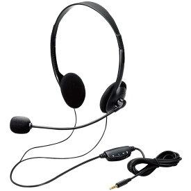 ヘッドセット 両耳オーバーヘッドタイプ 4極ミニプラグ ELECOM エレコム 小型イヤーパッド採用 イヤホン/マイク分岐アダプタ付 ブラック HS-102TBK ◆宅