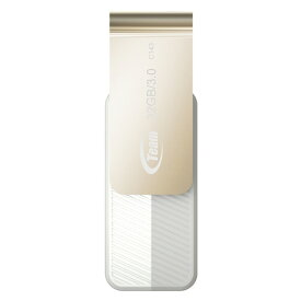32GB USBメモリ USB3.0 Team NEW Color Turn C143 回転式 キャップレス R:80MB/s シルクホワイト TC143332GW01 ◆メ