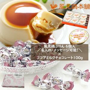 送料無料 ミルクプリン 6個セット×神戸モンロワールココアミルクチョコレート100g(約20個)1箱セット まとめてラッピング付き 名入れ ノベルティ グッズ オリジナル チョコレート プリン 詰め