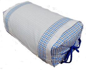 そばがら 坊主枕小型そば殻枕格子柄青日本製