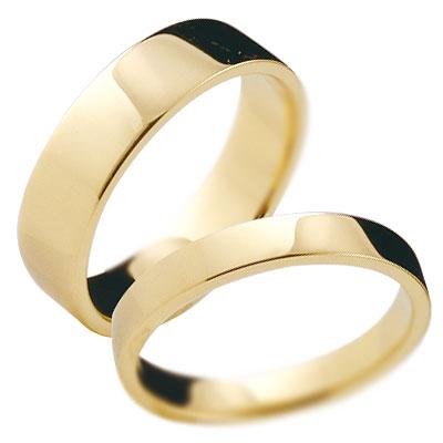[送料無料]ペアリング 結婚指輪 マリッジリング イエローゴールドk18 記念リング k18 18金 リング 結婚式 平角 3mm幅 5mm幅 幅広 地金リング 宝石なし 2本セット【楽ギフ_包装】【コンビニ受取対応商品】