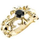 [送料無料]メンズジュエリー メンズ クロス リング ブラックダイヤモンド 0.5ct イエローゴールドk18 幅広 指輪 ダイヤ ゴールドリング ピンキーリン...