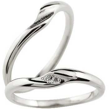 [送料無料]ペアリング 結婚指輪 マリッジリング ウェディングリング 結婚記念 ホワイトゴールドk18 ダイヤモンド シンプル つや消し ダイヤモンドポイント加工 ダイヤポイント あらし アンティーク加工 ハンドメイド 2本セット18k 18金【楽ギフ_包装】
