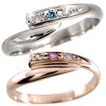 [送料無料]ペアリング 結婚指輪 マリッジリング ダイヤモンド ピンクサファイア プラチナリング ピンクゴールドK18 2本セット【楽ギフ_包装】【コンビニ受取対応商品】