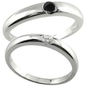 ペアリング 結婚指輪 マリッジリング 一粒ダイヤ ダイヤモンド ブラックダイヤモンド ホワイトゴールドk18 2本セット18k 18金【楽ギフ_包装】【コンビニ受取対応商品】 指輪 大きいサ