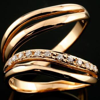 [送料無料]ペアリング 結婚指輪 マリッジリング ピンクゴールドk18 エタニティリング ダイヤモンド ウェーブライン ハンドメイド 18k 18金 2本セット【楽ギフ_包装】【コンビニ受取対応商品】