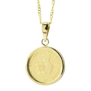 [あす楽]24金 純金 コイン ペンダントトップ ペンダントヘッド 2020年限定 テディベア クマ 純金貨 エリザベス女王 イギリス イエローゴールドk18 1/30オンス リバーシブル ケース付 レディース
